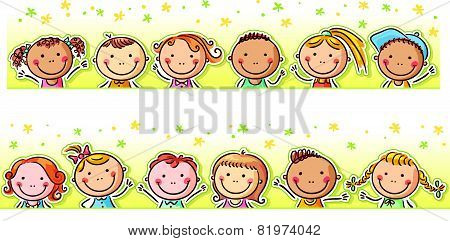 Border with happy cartoon kids