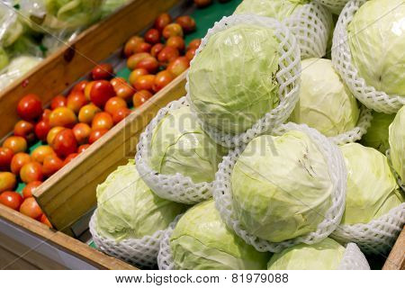 Booth With Vegetables At The Market, Cabbages, Tomatoes