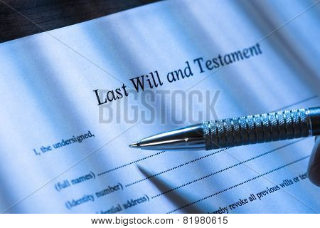 Person Writing Last Will And Testament