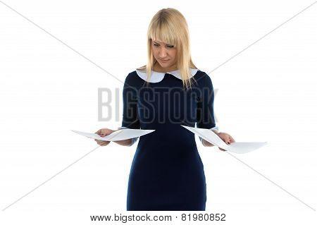 Photo Of Woman Looking At Sheets