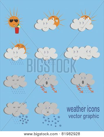 Funny weather icons, vector graphic
