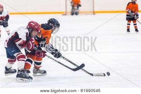 Game between children ice-hockey teams