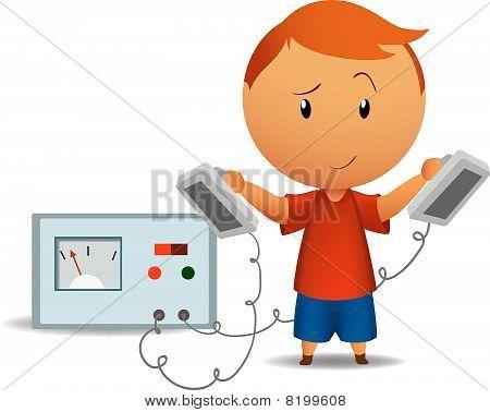 Smiling boy with medical defibrillator
