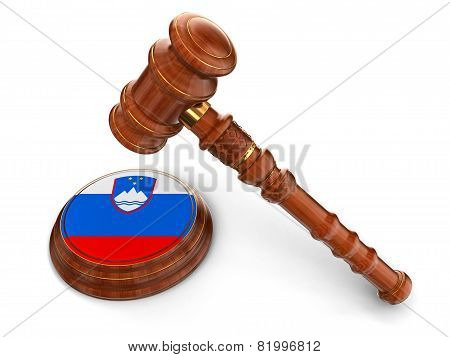 Wooden Mallet and Slovene flag (clipping path included)