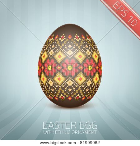 The Easter egg with an Ukrainian folk pattern ornament. Isolated vector realistic egg.