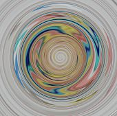 Closed circular twist in pastel colors with white outer rings. Computer-generated fractal rendered from a photo. poster