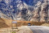 "A gravity hill where slow speed cars are drawn against gravity is famously known as ""Magnetic Hill"" a natural wonder at Leh Ladakh Jammu and Kashmir India poster"