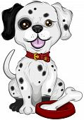 An Illustration of a Dalmatian with Bone with Clipping Path poster
