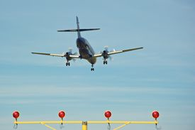 Aircraft Landing Over Runway Lights