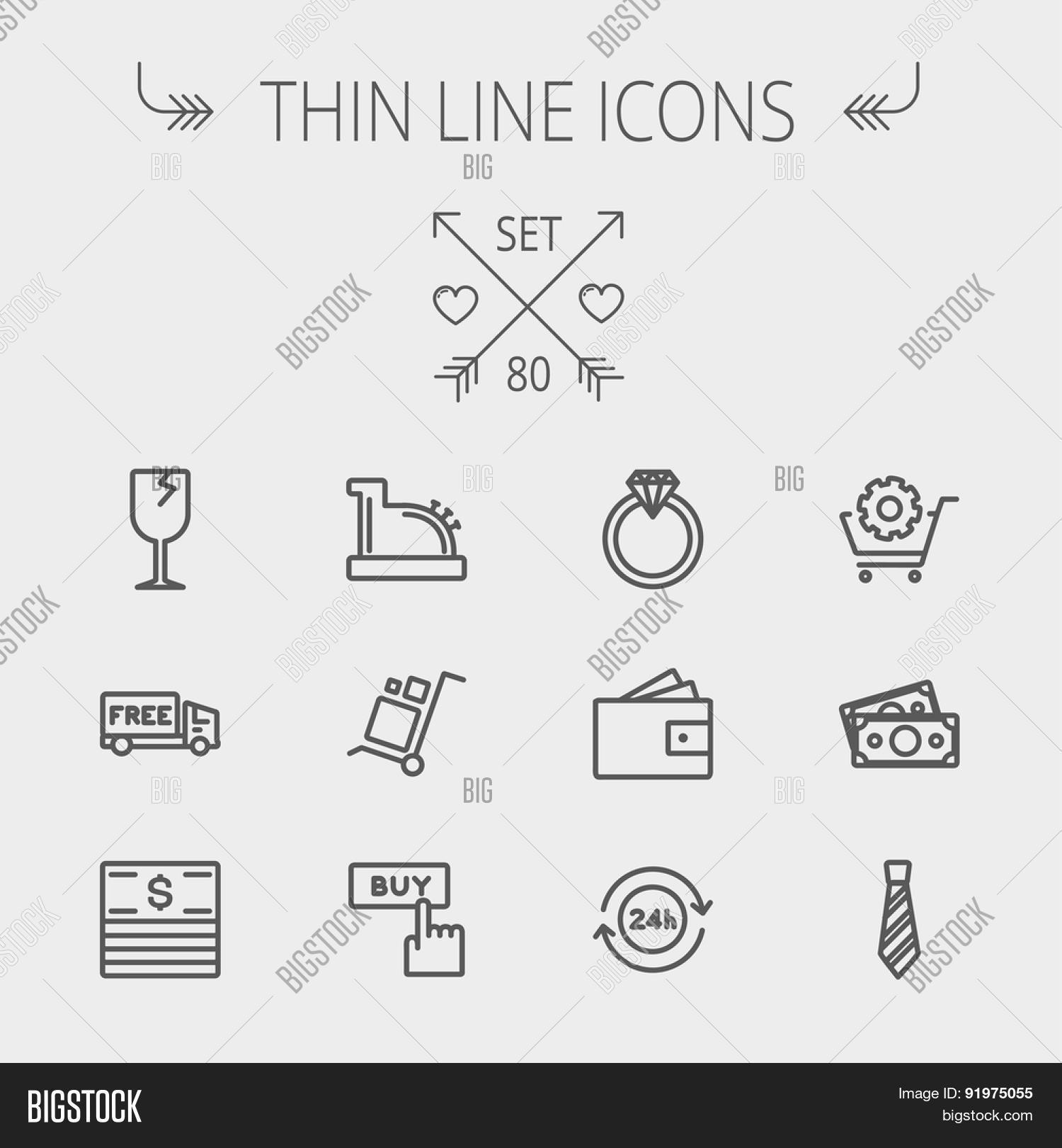 Business shopping thin line icon vector photo bigstock business shopping thin line icon set for web and mobile set includes broken glass buycottarizona Gallery