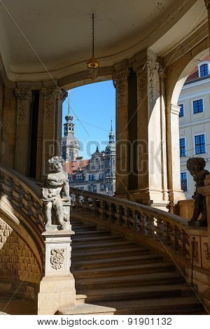 Stairs And Arches Under Carillon Pavilion Of Zwinger, Dresden, Germany.