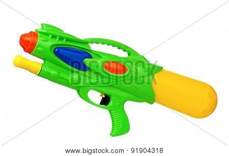 Plastic water gun isolated on white background