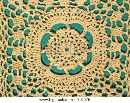 Crocheted Lace On Green