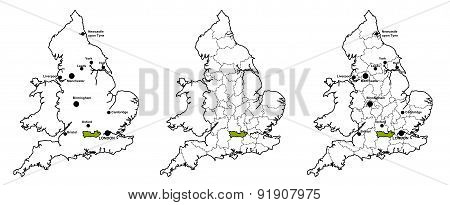 Maps of England with and without major cities and county boundaries, showing location of county of Berkshire poster