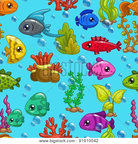 Seamless Pattern With Cute Cartoon Fishes