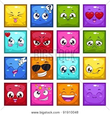 Square Characters With Different Emotions