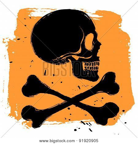 Danger Sign On Orange Background