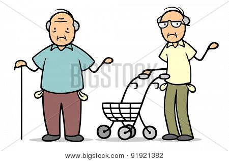 Two old poor sad senior people in poverty