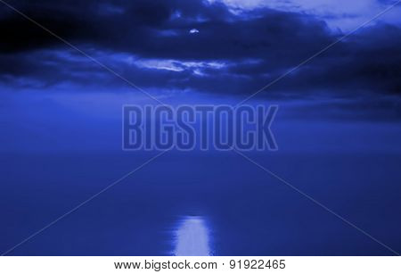 Moonlight Reflecting In The Sea