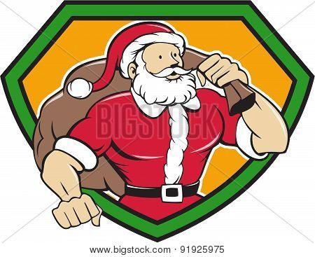 Super Santa Claus Carrying Sack Shield Cartoon