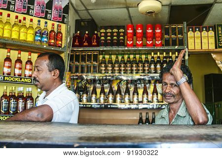 Man Sells Alcohol In A Licenced Alcohol Shop In Negombo