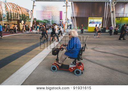 Elderly Woman Visiting Expo 2015 In Milan, Italy