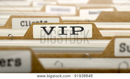 VIP Concept with Word on Folder.