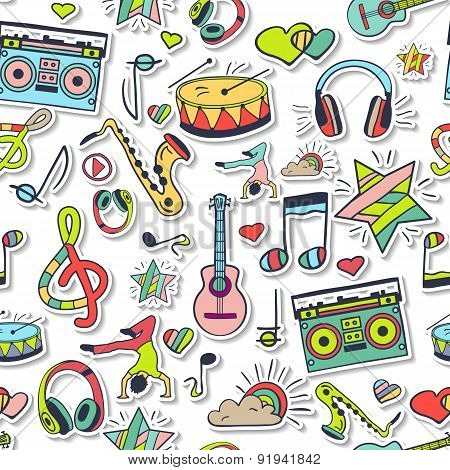 Vector Seamless 3D Music Pattern. Hand Draw, Doodles.
