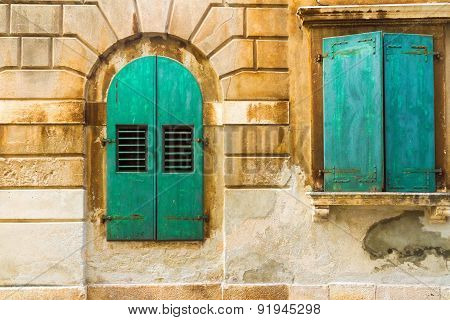 The Wall And The Green Window Shutters, Mediterranian Architecture.