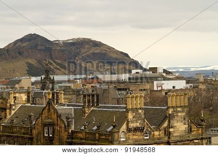 Edinburgh, Scotland - Circa March 2013: A View From The Exterior Of Edinburgh Castle