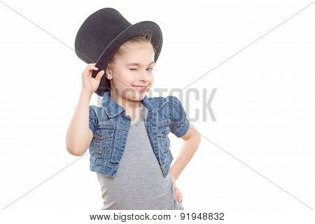Small girl with a top hat