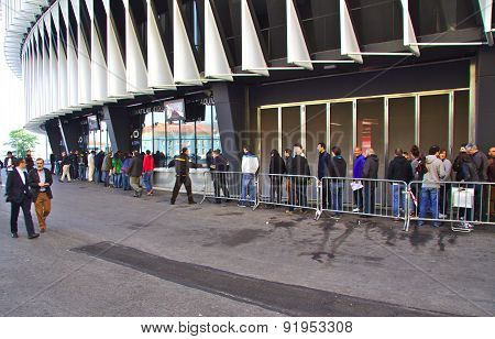 BILBAO, SPAIN - MAY 28 2015:  People queueing for a ticket at San Mames, Athletic Club football team