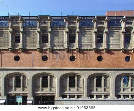 BILBAO, SPAIN, MAY 28, 2015: View of Azkuna Zentroa, Alhondiga. Building by Ricardo Bastida and Phil