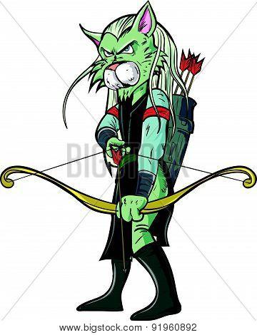 Cartoon elf warrior. Isolated on white