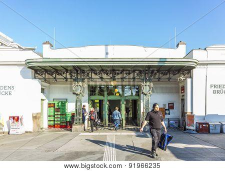 People At Train Station Friedensbruecke In Vienna