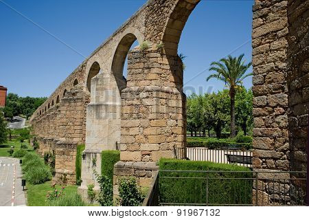 Arches Of San Anton, Aqueduct Of Caceres. Spain