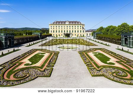 Royal Palace In Vienna During Sunny Spring Day Prince Garden View