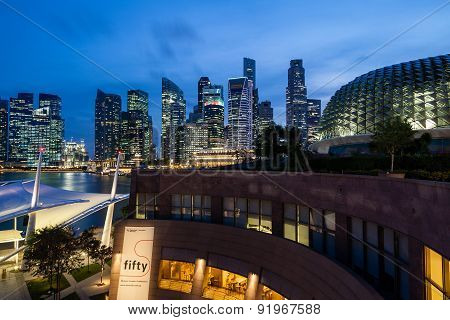 Singapore Skyline At Dusk On The Esplanade