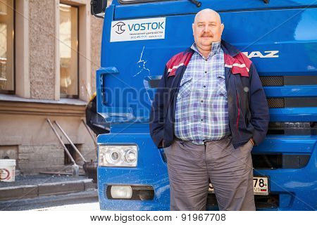 Senior Positive Truck Driver With Mustaches