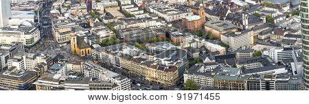 Aerial View Of Frankfurt With Hauptwache And Pedestrian Zone Zeil