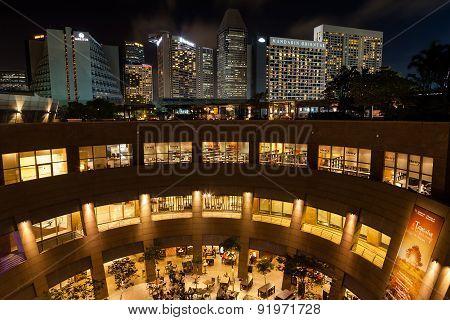 Singapore Esplanade Theater With Marina Skyline At Night