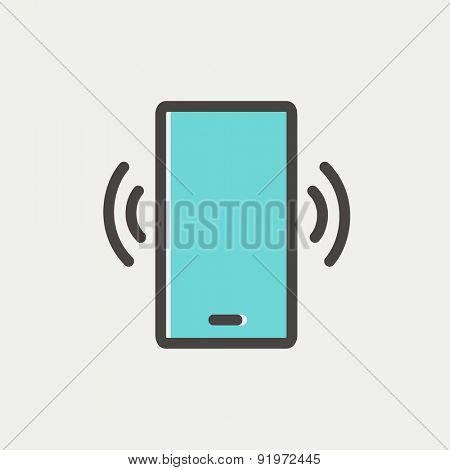 Mobile phone vibrating icon thin line for web and mobile, modern minimalistic flat design. Vector icon with dark grey outline and offset colour on light grey background.