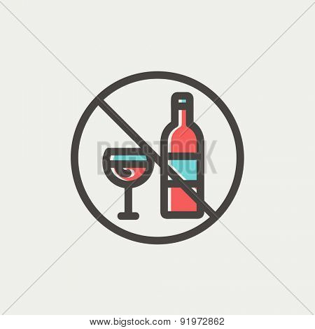 No alcohol sign icon thin line for web and mobile, modern minimalistic flat design. Vector icon with dark grey outline and offset colour on light grey background.