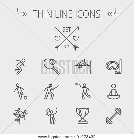 Sports thin line icon set for web and mobile. Set includes- fencing, tennis racket with ball, running, soccer, marathon, high jump, trophy, yoga, barbell, flying disc icons. Modern minimalistic flat