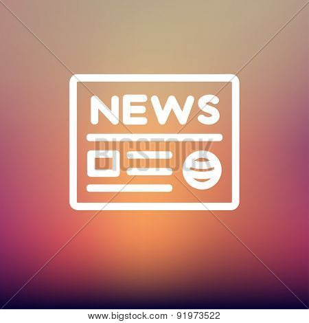 Newspaper icon thin line for web and mobile, modern minimalistic flat design. Vector white icon on gradient mesh background.