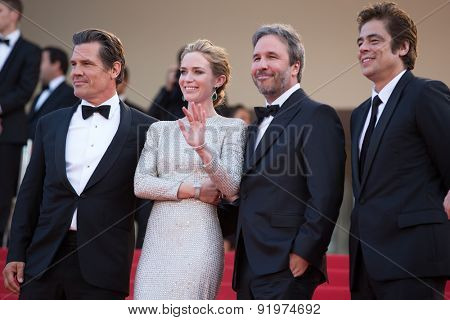 Josh Brolin, Emily Blunt, director Denis Villeneuve and actor Benicio Del Toro attends the 'Sicario' premiere during the 68th annual Cannes Film Festival on May 19, 2015 in Cannes, France.
