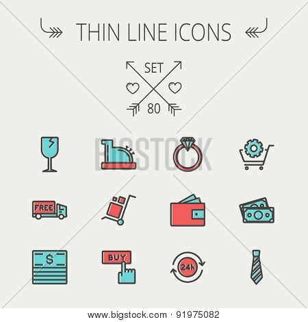 Business shopping thin line icon set for web and mobile. Set includes - broken glass wine, free delivery van, stack of money, vintage cash register, trolley, diamond ring, 24 hrs service, necktie