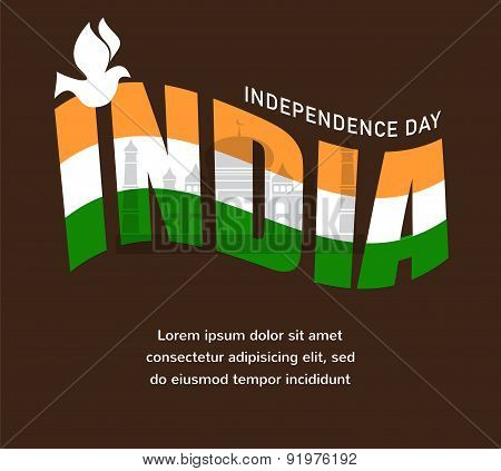illustration of wavy Indian flags with monument, independence day