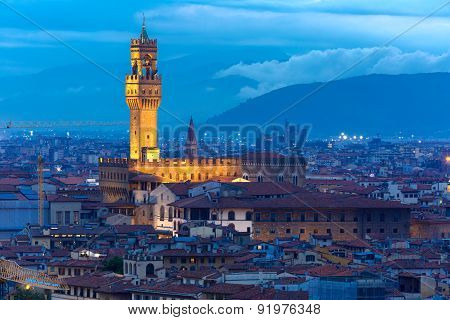 Famous tower of Palazzo Vecchio on the Piazza della Signoria at twilight from Piazzale Michelangelo in Florence, Tuscany, Italy poster