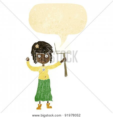 cartoon hippie girl with protest sign with speech bubble poster